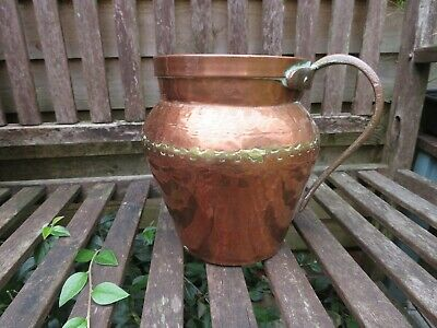 Beautiful Antique / Vintage Rustic Hand Beaten Copper & Brass Container Jug