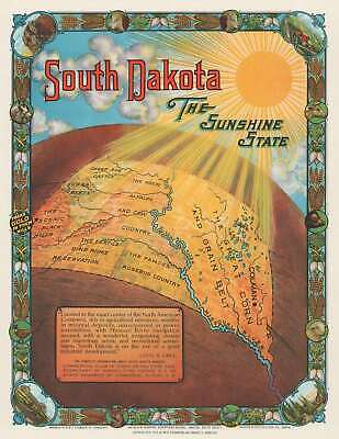 1929 Chambers and Dowling Pictorial Map of South Dakota