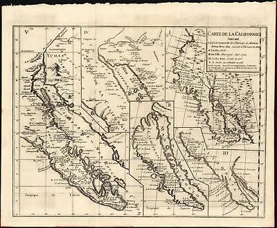 1772 Vaugondy / Diderot Map of California Debunking California as an Island