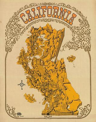 1968 Pictorial Map of California from the Peak of the Hippie Era