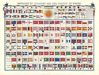 1850 Basset Chart of the Flags of Nations