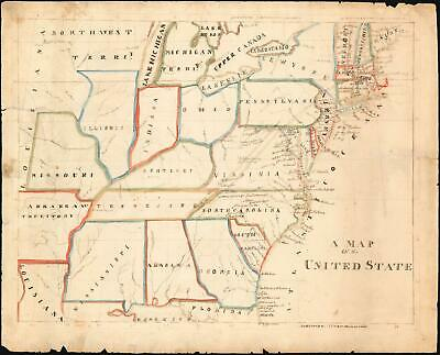 1825 Schoolgirl Map of the United States