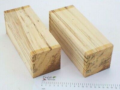 2 Punky English Spalted Beech woodturning or carving blanks. 75x75x205mm. 4020A