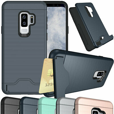 Brushed Hard Case Card Slot Cover Stand For Samsung Galaxy S7 edge S8 S9 Plus