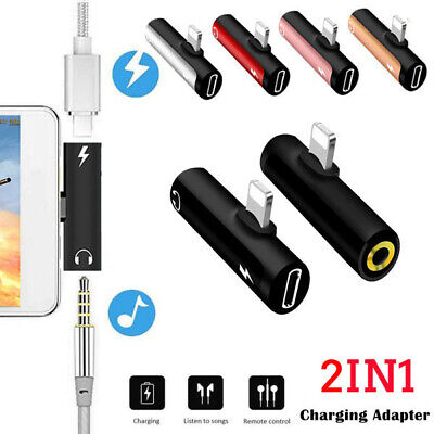 For iPhone X 7 8 Plus Adapter Converter Splitter Charger 3.5mm Jack Headphone
