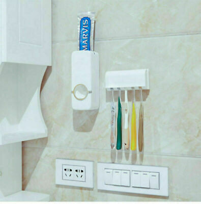 Automatic Toothpaste Dispenser Squeezer Wall Mounted Toothbrush Holder Stand Set