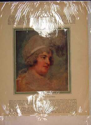 Original Old Antique Print Portrait Lady Diana Beauclerck Ronney Color