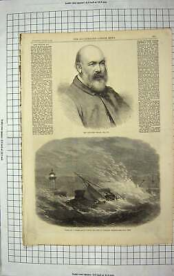 Old Antique Print 1867 John Phillip Wreck Fishing Smack Ramsgate Harbour 19th