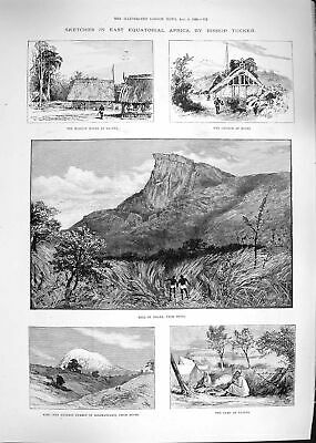 Old Antique Print 1892 Africa Ndara Teita Taveta Church Mochi Kilimanjaro 19th
