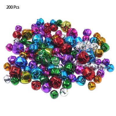 200pcs/Lot Xmas Colorful Iron Beads Christmas Jingle Bells Jewelry 10mm DIY