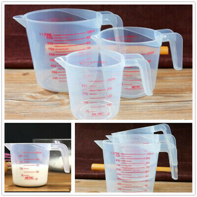 x3 Clear Plastic Stacking Measuring Jugs Cook Baking Kitchen Flour Sugar Water