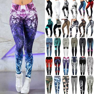 Womens High Waisted Yoga Pants Push Up Leggings Fitness Gym Jogging Trousers G27
