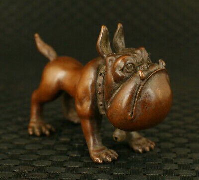 chinese old red copper hand casting fierce dog statue home table decoration