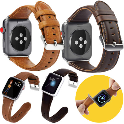 Genuine Leather Band For Apple Watch 44mm 42mm 38mm 40mm Series 1 2 3 4 5 Strap