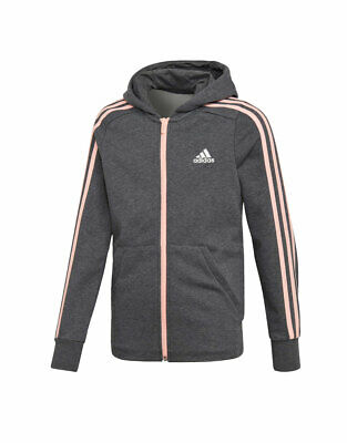 Adidas Kids Girls Lifestyle Essentials 3 Stripes Grey DJ1303 Hoodie