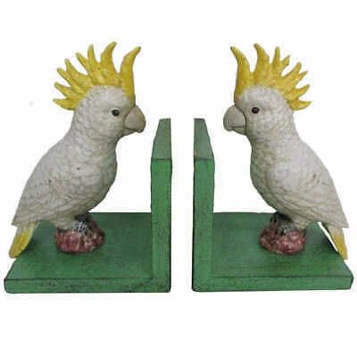Pair of Cast Iron Cockatoo Bird Bookends Hand Painted Retro Book Ends Green Base