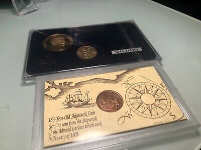 186 Year Old Shipwreck Coin & Jfk Presidential Dollar Coin Proof Set Bonus