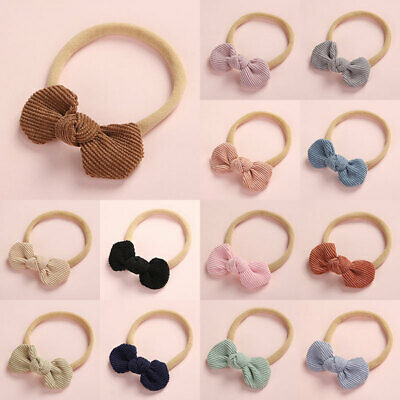 Baby Sweet Cute Knotted Bow Nylon Headband Super Soft Elastic Corduroy Hair Band