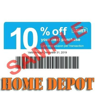 (20) Lowe's Blue Cards 10% for Home Depot only.  Expires OCTOBER 10/15/2020