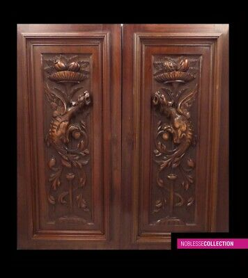 PAIR OF ANTIQUES 1890s FRENCH CARVED WALNUT WOOD PANELS DOORS DRAGOON CHIMERA
