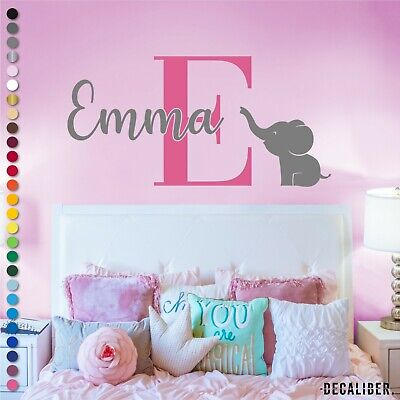 Personalised Name Initial Baby Elephant Wall Sticker Boy Girl Childrens Nursery