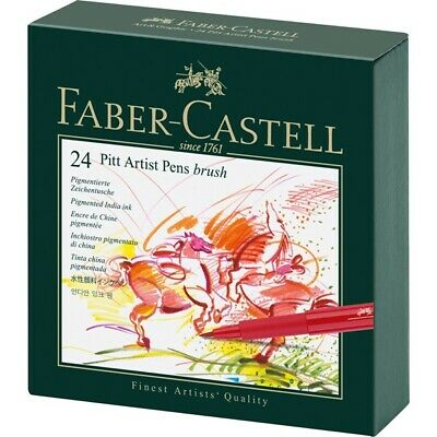 #167147 Faber Castell Gift Box of 24 Brush Tip Pitt Artist Pens India Ink Sketch