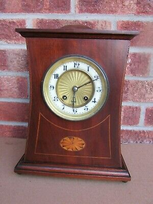 French Edwardian Mahogany Inlaid 8 Day Striking Mantle Clock