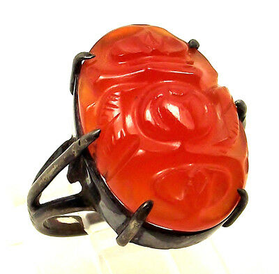 Chinese Export RED JADE Carved Plum Fruit Gemstone STERLING SILVER Size 4.5 Ring