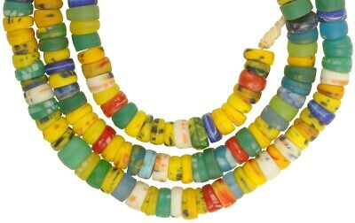 African trade beads old Bohemian Czech glass beads molded oval Ghana necklace