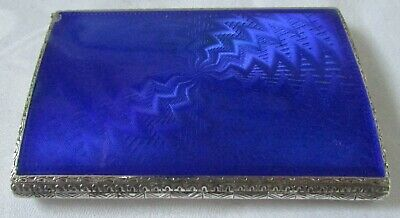 Antique Sterling Silver Blue Enamel Guilloche Compact W/ Lipstick Powder Rouge