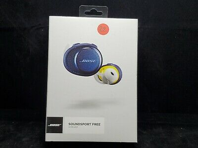 Bose Soundsport Free Wireless Earbuds W/ Charging Case Navy Blue/Citron