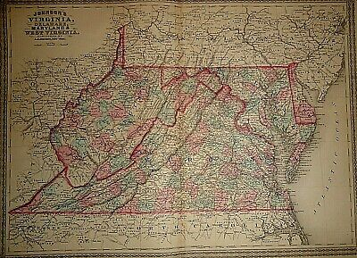 Vintage 1878 VIRGINIA DELAWARE MARYLAND WEST VIRGINIA MAP Old Antique Authentic