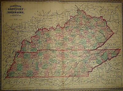 Vintage 1878 KENTUCKY - TENNESSEE MAP Old Antique Authentic & Original Atlas Map