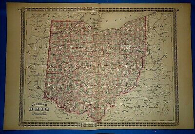 3 Vintage 1878 MAPS / OHIO - ILLINOIS - INDIANA Old Antique Authentic Original