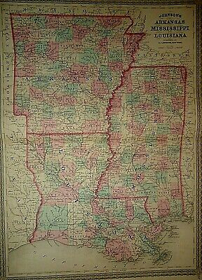 Vintage 1878 MISSISSIPPI LOUISIANA ARKANSAS MAP Old Antique Authentic & Original