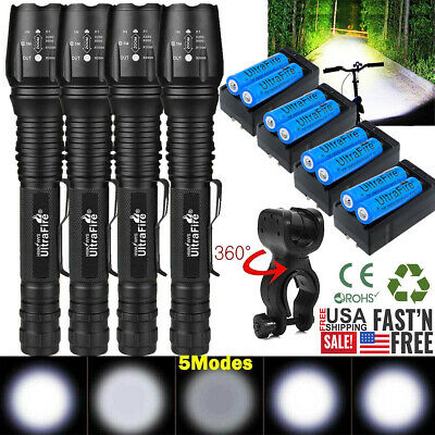 900000Lumen Tactical 5-Modes T6 Zoomable Focus 18650 LED Flashlight Torch Light