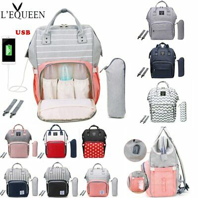 LEQUEEN Fashion USB Mummy Maternity Diaper Bag Large Nursing Travel Backpack