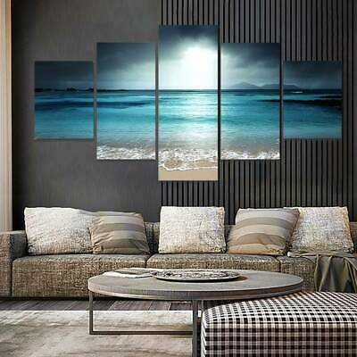 5Pcs Sunset Beach Canvas Prints Framed Wall Art Decor Painting Multi Pattern
