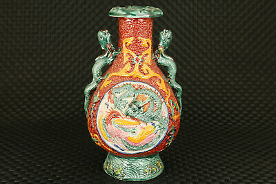 chinese old porcelain hand carved dragon phoenix statue vase