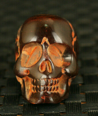 chinese old yak horn hand carved skull  statue pendant