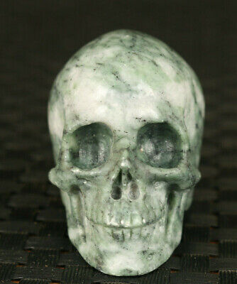 Chinese old natural jade stone hand carved skull statue figure collectable