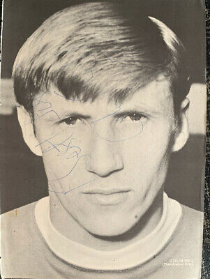 Multi Signed 1970s Manchester City Magazine Poster Colin Bell Football Autograph
