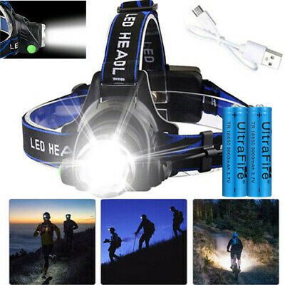 350000Lumen Zoomable T6 LED Headlamp USB Rechargeable Headlight 18650 Head Light