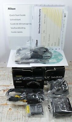 NIKON Black Coolpix S6200 16MP Wide 10x Zoom VR Digital Camera Boxed Unused