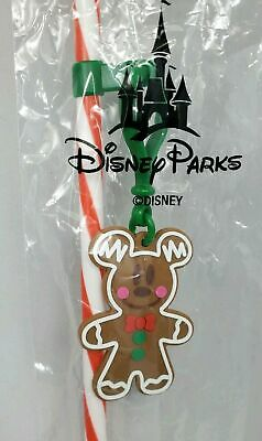 Disney Parks Christmas 2019 Candycane Straw W/ Mickey Gingerbread Hanging Charm
