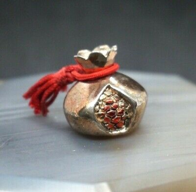 """1""""Sterling Silver Pomegranate Fruit Figure Italy Paperweight Sculpture Miniature"""