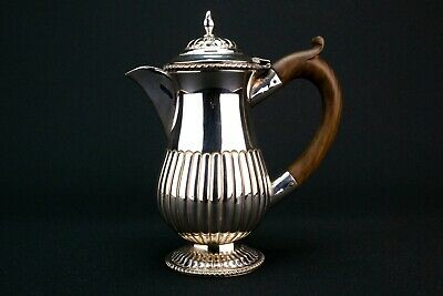 1900 Chocolate Coffee Pot Silver Plated Gadrooned Antique English Teapot Small