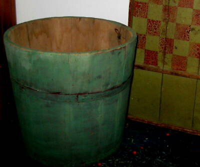 Awesome Antique Primitive Wooden Bucket Excellent Old Paint Aafa Nr