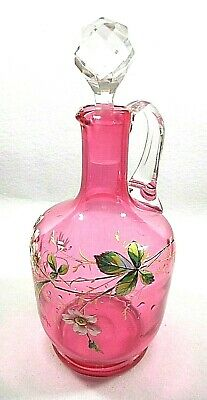 Antique Cranberry Glass Enameled Large Cruet with Clear Glass Stopper