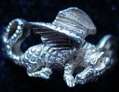 LOOK Celtic Sleeping Fire Dragon Ring Silver TAIL Jewelry